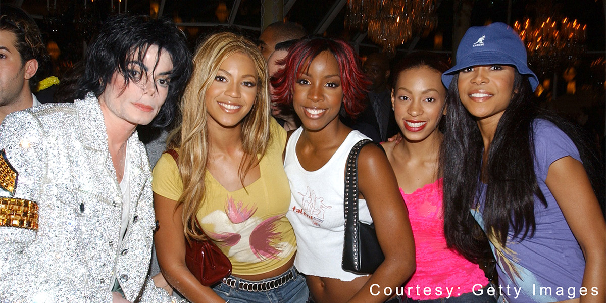 Michael Jackson with Destiny's Child and Solange at after party for Michael Jackson: 30th Anniversary Celebration on September 7, 2001