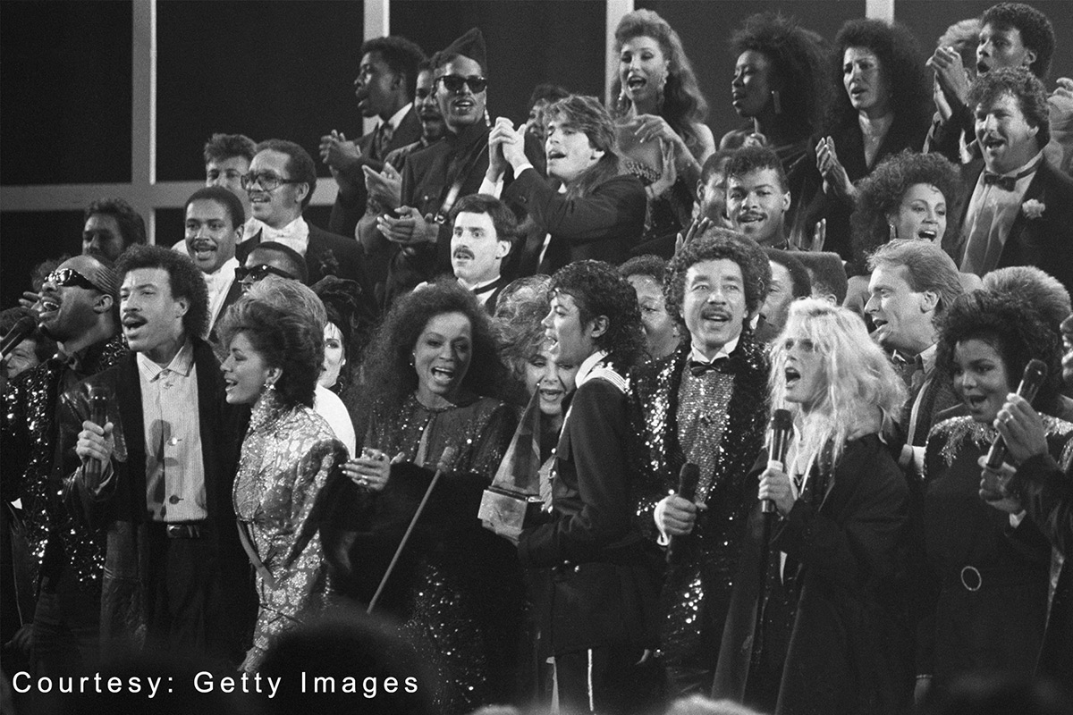 Michael Jackson sings We Are The World with celebrity friends at American Music Awards January 27, 1986