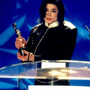 Michael Jackson accepts award at BRIT Awards February 20, 1996