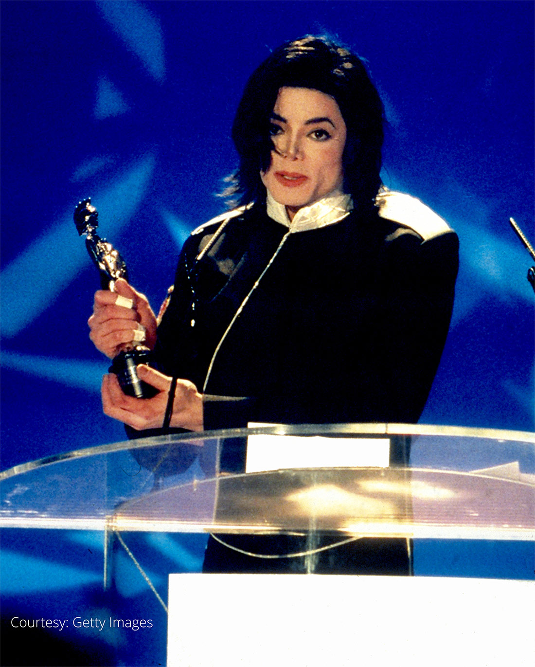Michael Jackson accepts award at BRIT Awards February 20, 1996