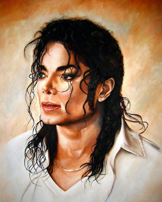Michael Jackson oil on canvas painting by fan Nadia Z Ali