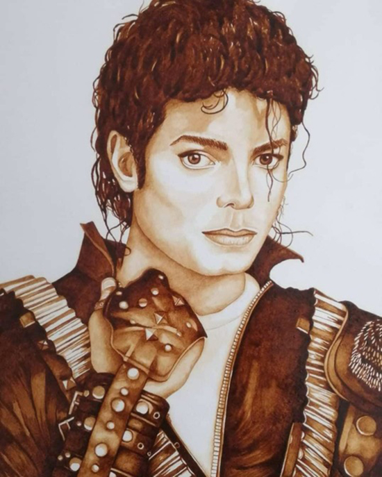 Michael Jackson painting using coffee by Leticia Figueroa