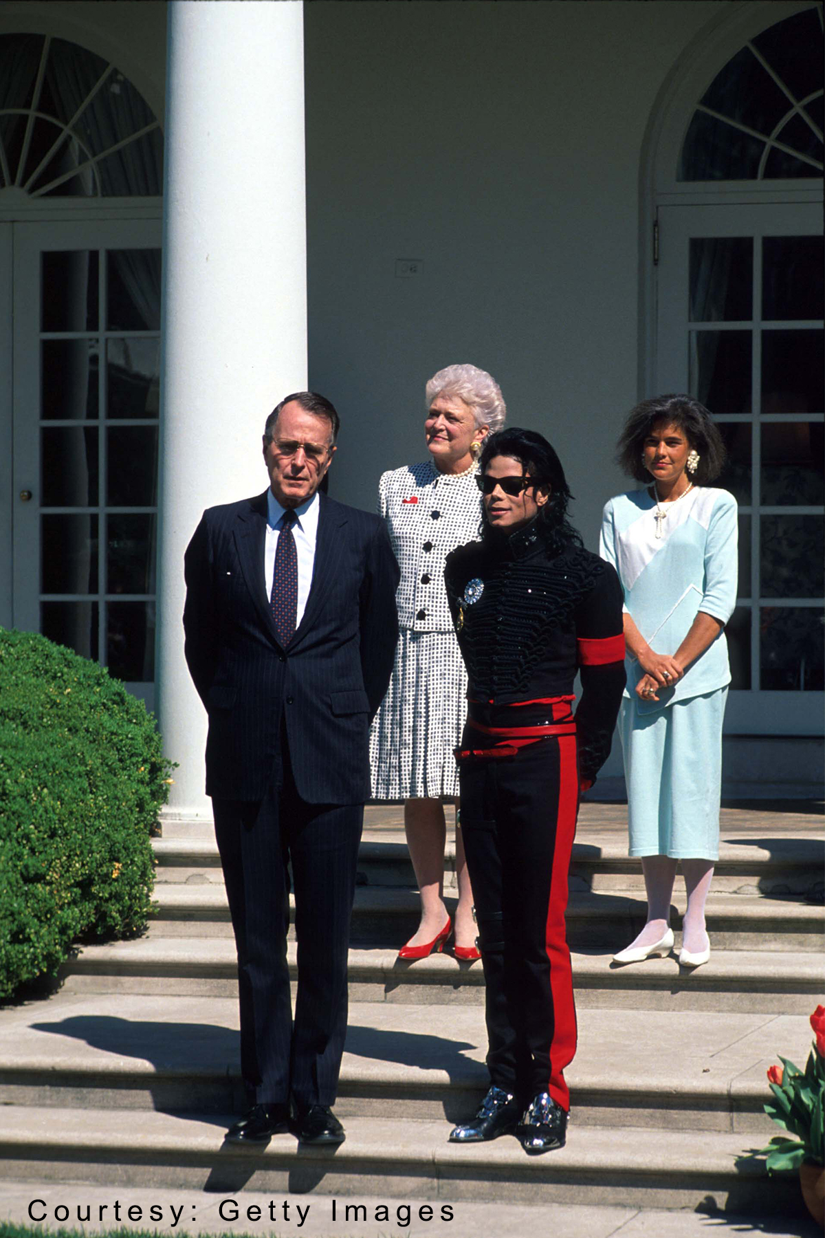 Michael Jackson honored as Artist of the Decade at White House April 5, 1990 by President George H.W. Bush and First Lady Barbara Bush