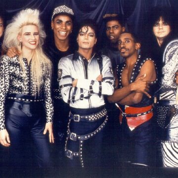 Michael posing with his tour band