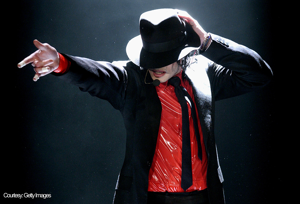 Michael Jackson performs at American Bandstand's 50th Anniversary Celebration taping April 20,2002