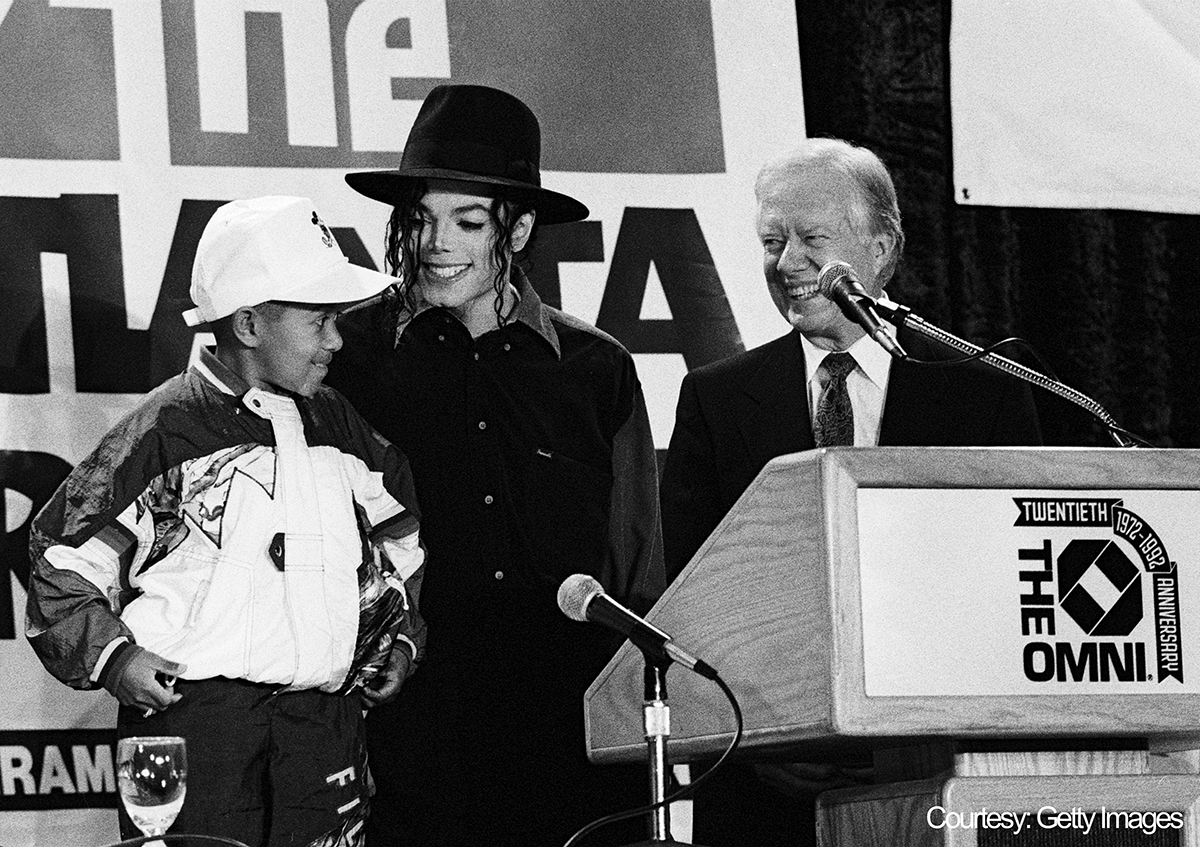 Michael Jackson, former President Jimmy Carter, and Emmanuel Lewis promote Atlanta Projects Immunization Drive May 5, 1993