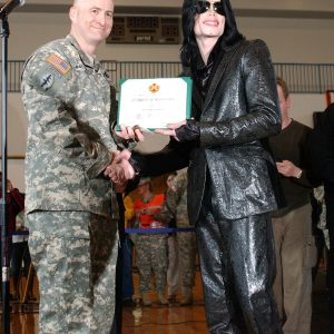 Michael Jackson visits U.S. Army Base Camp Zama in Japan on March 10, 2007