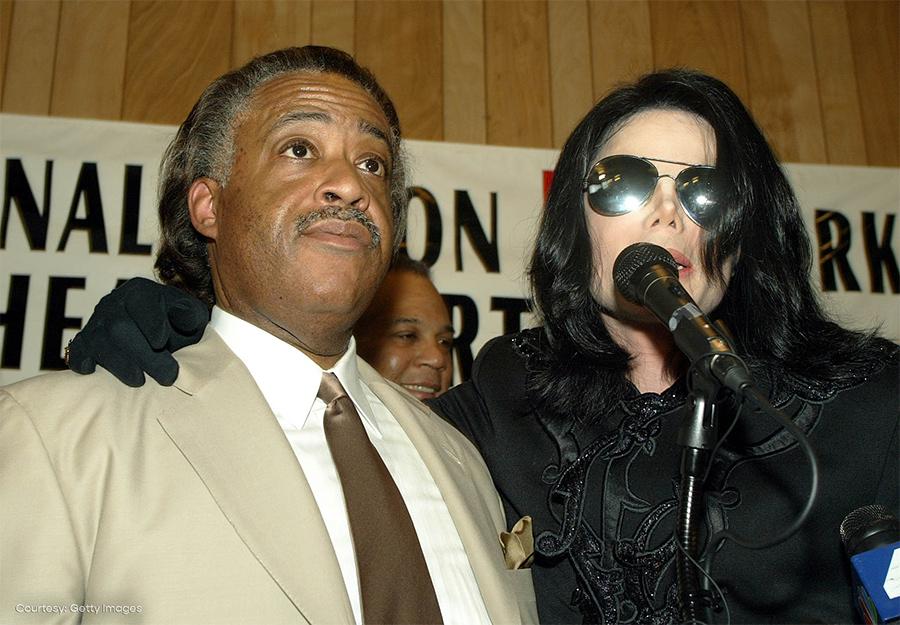 Michael Jackson and Rev. Al Sharpton at National Action Network Harlem July 6, 2002