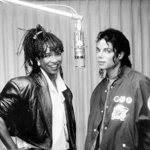 Michael Jackson and Siedah Garrett recording studio I Just Can't Stop Loving You from Bad in 1987