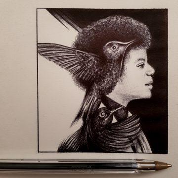 'Little Song Bird' Biro Pen Drawing