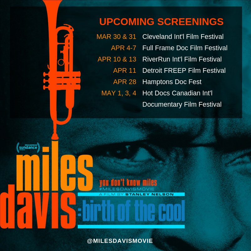 Miles Davis: Birth Of The Cool documentary screenings