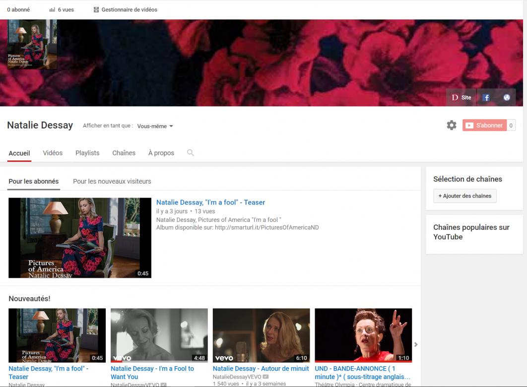 Découvrez la chaîne Youtube de Natalie Dessay