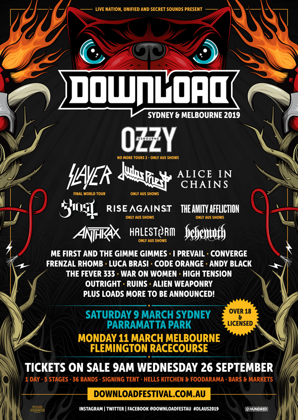 Ozzy Osbourne headlines Download Festival Australia March 9 & 11, 2019