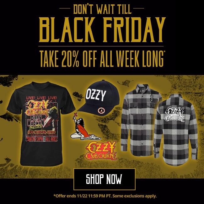Ozzy Osbourne 2018 official store sale