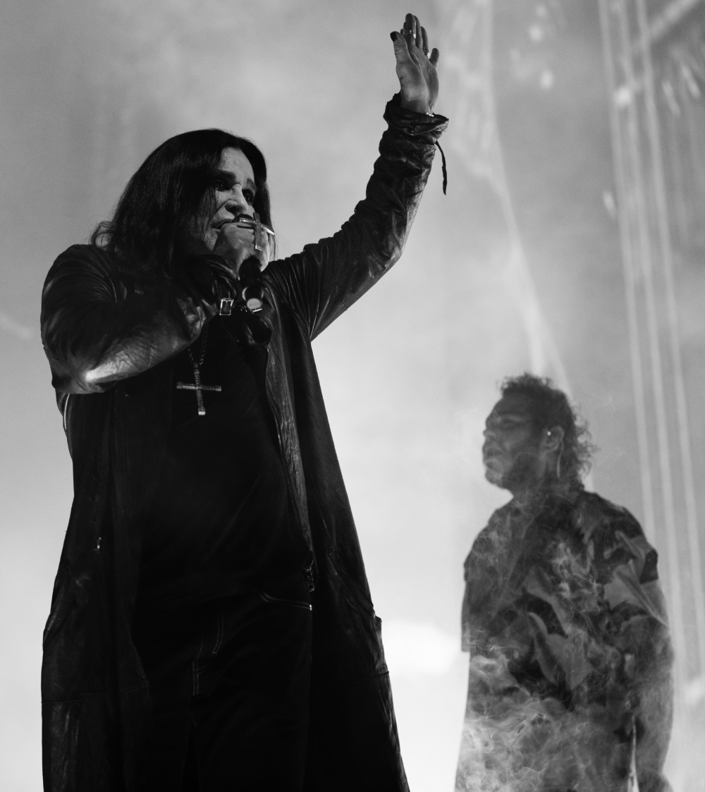 Ozzy Osbourne on stage at Post Malone concert at The Forum in Los Angeles for Take What You Want performance November 21, 2019