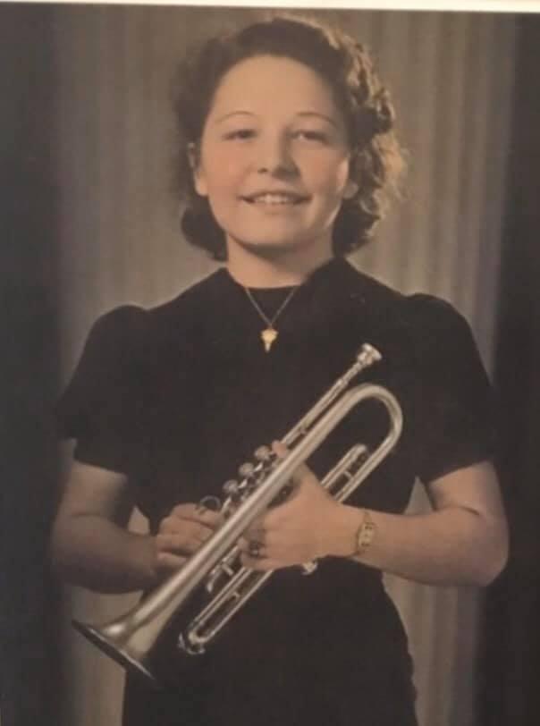 Delores Rhoads First Trumpet, a Prewar/Great Depression Era Silver Fresh Besson Trumpet