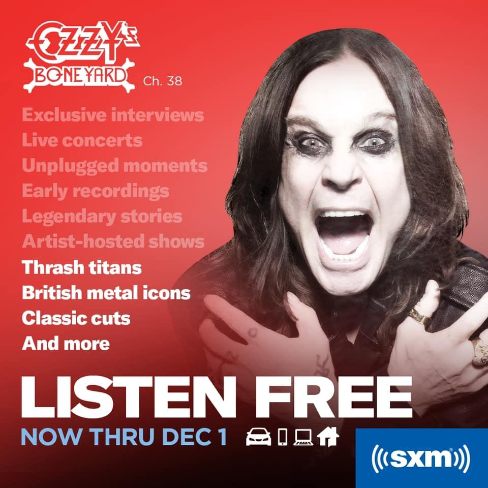 Ozzy's Boneyard free on SiriusXM through December 1, 2020