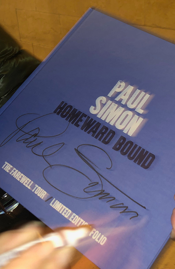 Homeward Bound tour book signed by Paul Simon - proceeds go to Food Bank for New York City