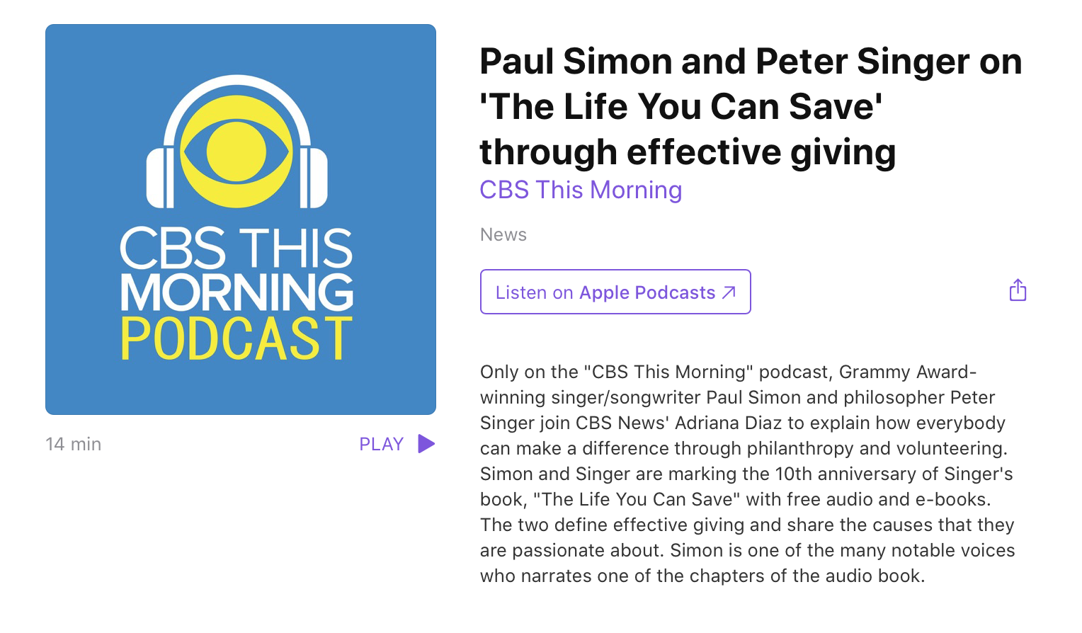 Paul Simon and Peter Singer on 'The Life You Can Save'