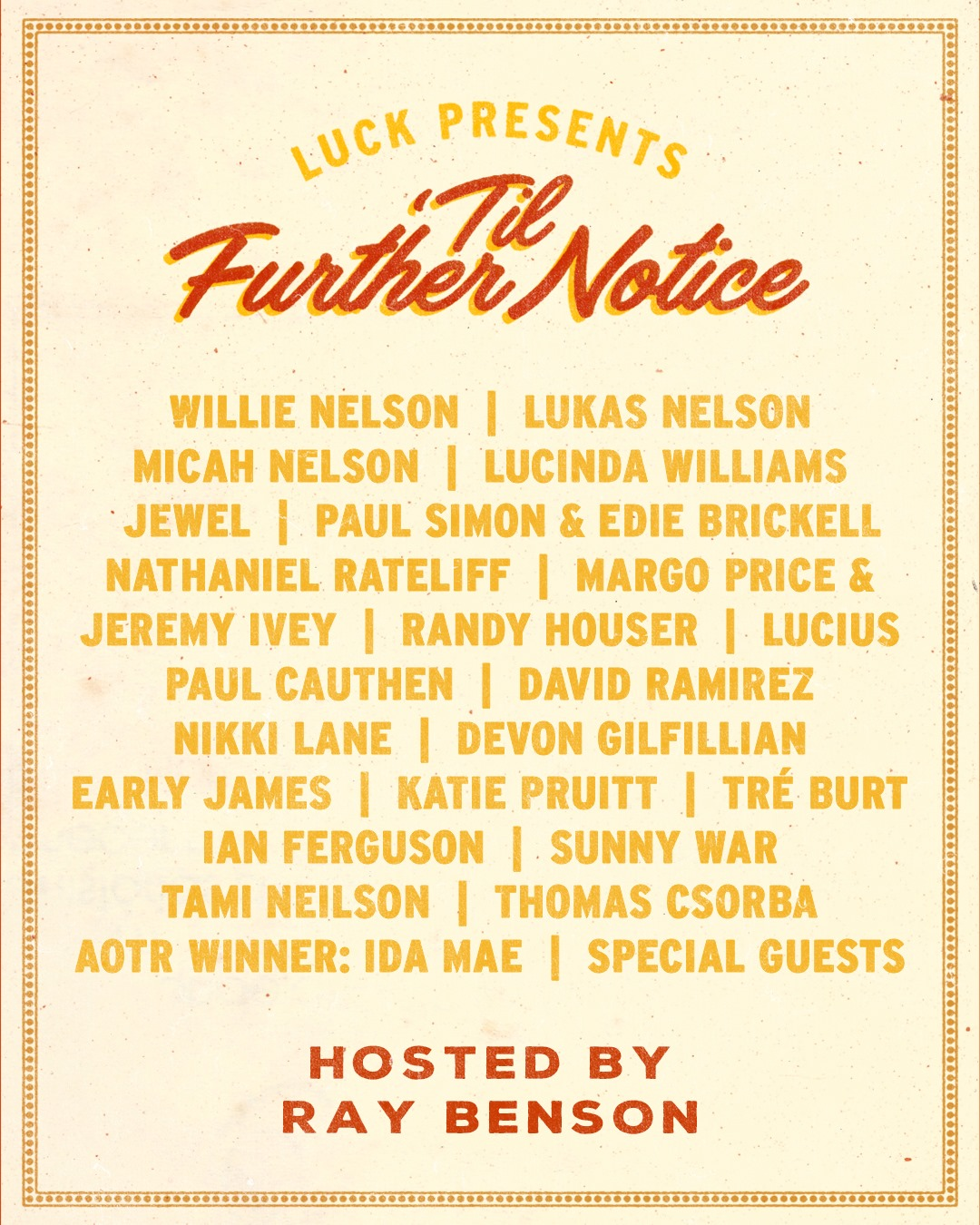 'Til Further Notice streaming concert March 19, 2020