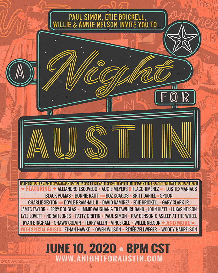 'A Night For Austin' Invites You To A Live Streaming Music Benefit Supporting The Austin Community Foundation Fund