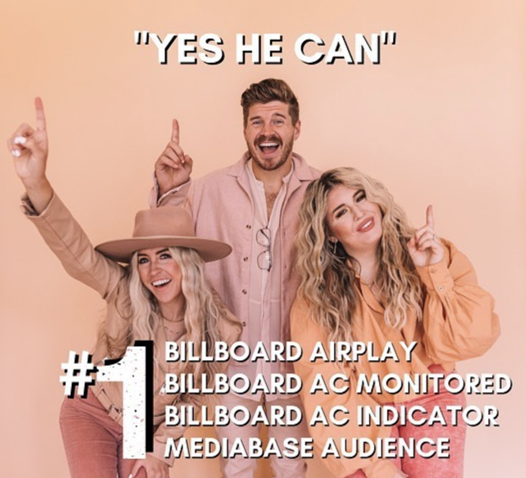 """AWARD-WINNING SIBLING TRIO CAIN ACHIEVES BACK-TO-BACK NO. 1 RADIO SINGLES; """"Yes He Can"""" Hits The Top This Week At Radio Following Their Debut Chart-Topper """"Rise Up (Lazarus)"""""""
