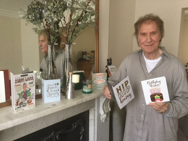 Ray Davies with his birthday cards 2018