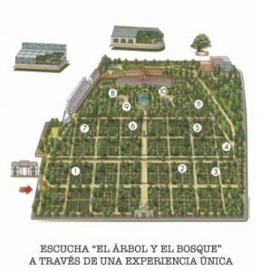 Imagen de plano de localizaciones donde se escucharán las canciones de El árbol y el bosque de Rozalén en el Jardín Botánico de Madrid