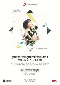 Imagen del cartel de presentación del álbum El árbol y el bosque de Rozalén en el Jardín Botánico de Madrid