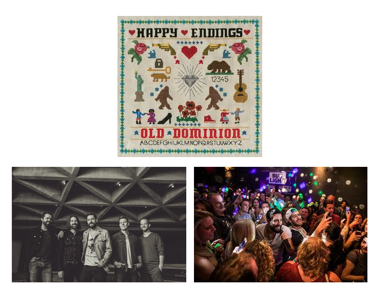 OLD DOMINION'S SOPHOMORE ALBUM  HAPPY ENDINGS DEBUTS AT #1 ON BILLBOARD'S TOP COUNTRY ALBUMS U.S. CHART AND #1 ON THE TOP COUNTRY ALBUMS CHART IN CANADA