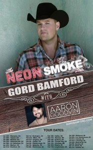 "GORD BAMFORD ANNOUNCES ""NEON SMOKE"" TOUR TODAY"