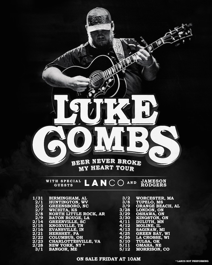 LUKE COMBS CONFIRMS 2019 HEADLINE ARENA TOUR