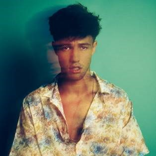Cameron Dallas in a flower pattern button up poses in front of a green background