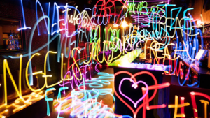 Light painting in the music video for Tim McGraw's 'Neon Church'