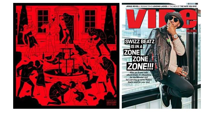 Album artwork of Swizz Beats's POISON and Swizz Beatz on the cover for VIBE Magaine