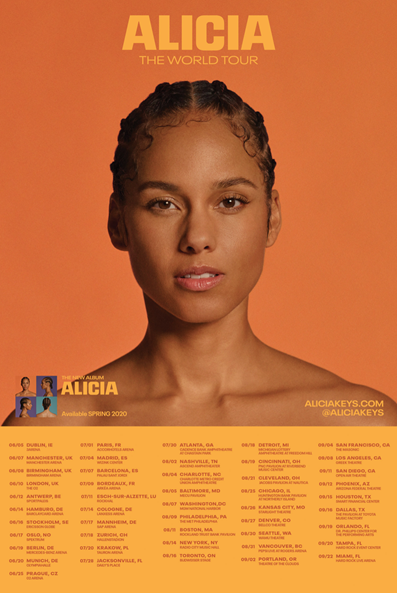 ALICIA KEYS ANNOUNCES NEW ALBUM ALICIA TO BE RELEASED WORLDWIDE ON MARCH 20TH AND LONG-AWAITED RETURN TO TOURING WITH ALICIA – THE WORLD TOUR