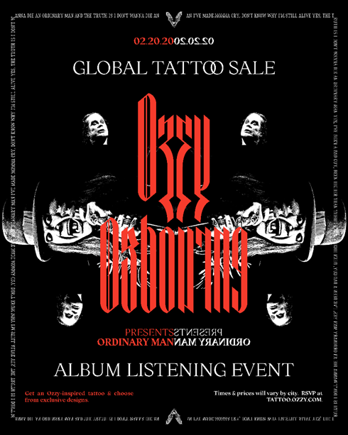 OZZY OSBOURNE CELEBRATES 'ORDINARY MAN' ALBUM RELEASE WITH GLOBAL TATTOO EVENT AND LOS ANGELES IN-STORE APPEARANCE