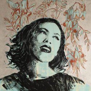 Image of illustrated Australian artist singer Kate Ceberano with illustrated vine leaves in the backgrounf