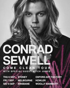 Conrad Sewell announces Come Clean Australian East Coast Headline Tour for this September