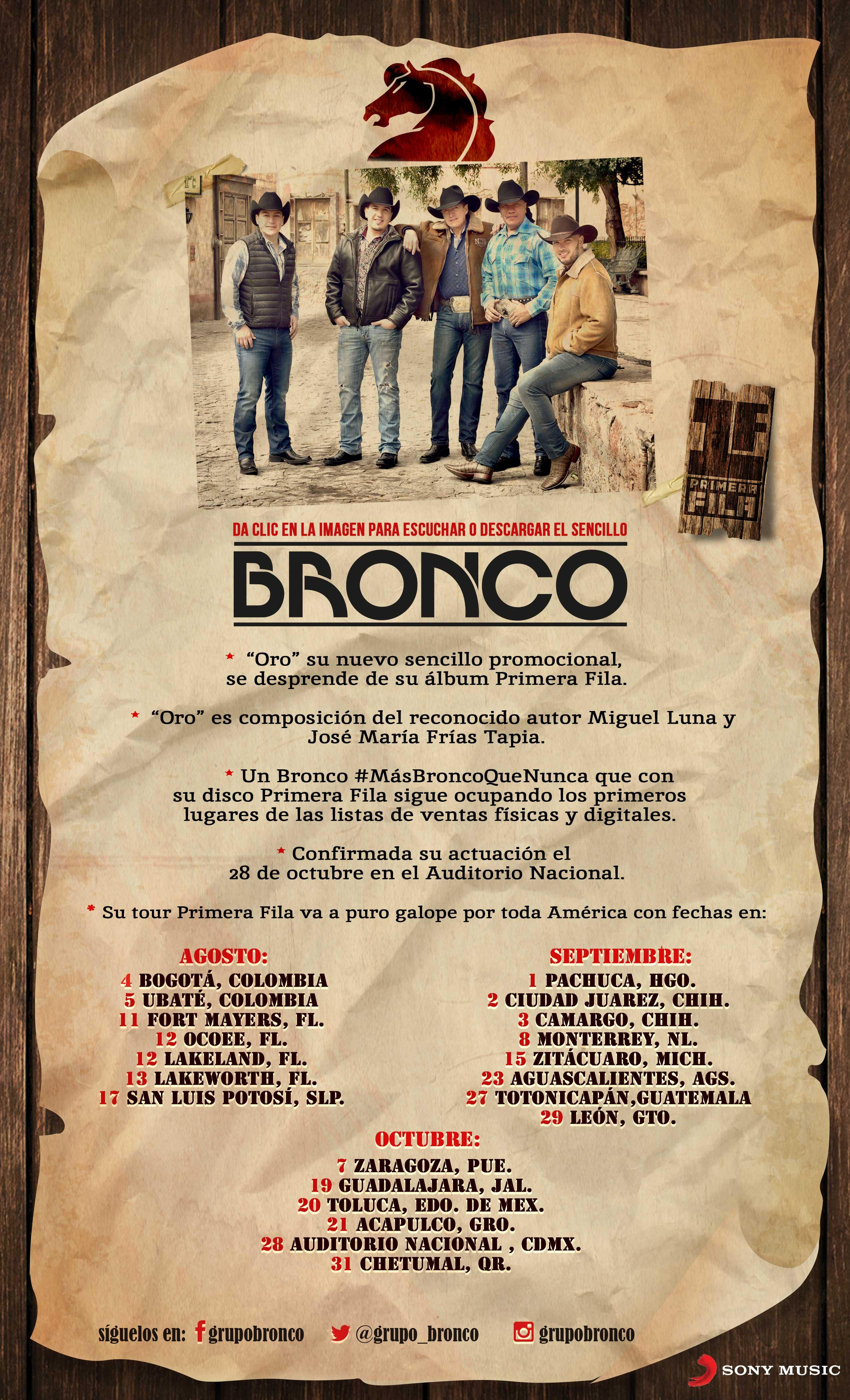 """BRONCO – """"ORO"""" es el nuevo sencillo promocional que se desprende de su álbum PRIMERA FILA"""