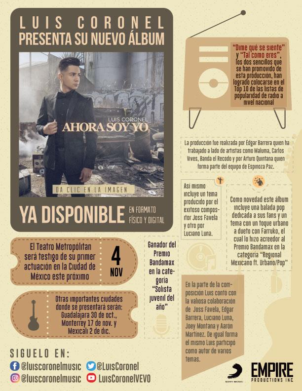 """LUIS CORONEL presenta su nuevo álbum """"AHORA SOY YO"""""""