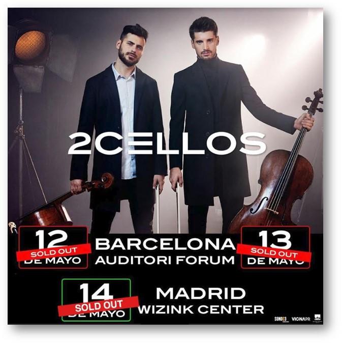 2CELLOS agotan las entradas para sus conciertos en Barcelona y Madrid