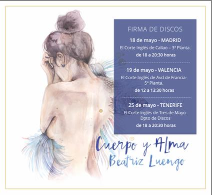 """Beatriz Luengo anuncia las primeras firmas de su nuevo disco """"Cuerpo y alma"""", disponible el 18 de mayo"""