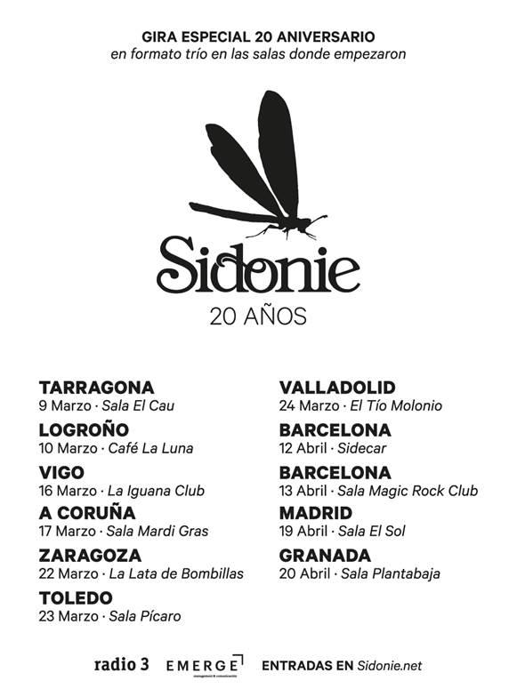 Sidonie celebran sus 20 años con una gira especial que los llevará a las salas donde empezaron