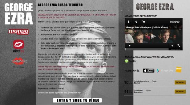 """La acción """"Actúa en uno de los conciertos de George Ezra, en Madrid o en Barcelona"""" finalmente queda desierta"""
