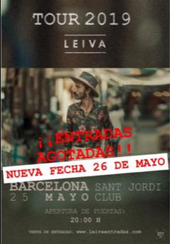 Leiva agota las entradas para su concierto de Barcelona y anuncia nueva fecha el 26 de mayo