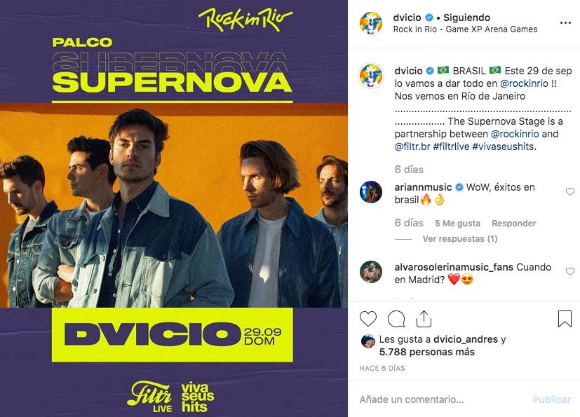 DVICIO viaja a Brasil para participar en el Festival Rock In Rio y anuncia nuevas fechas en España