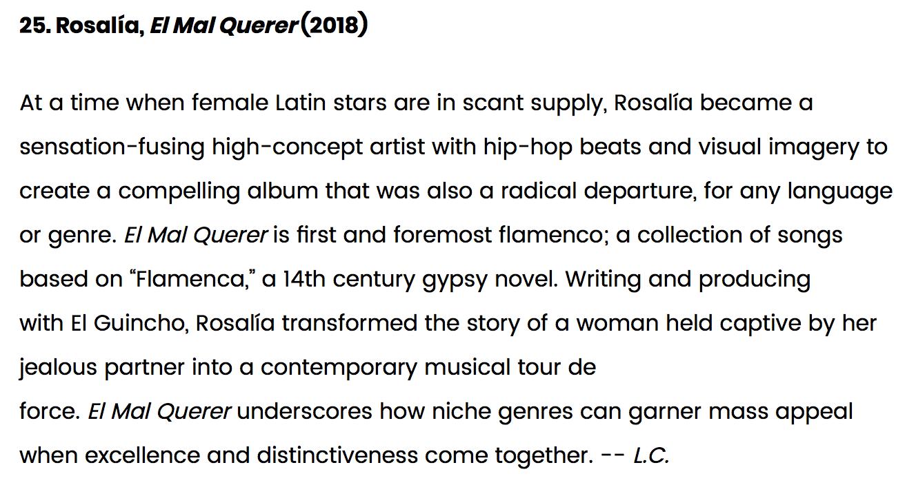 """""""El Mal Querer"""": Uno de los mejores álbumes de la década según Billboard"""