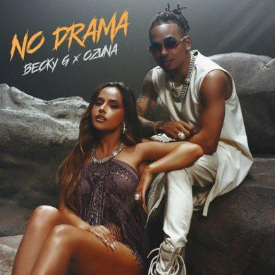 """Imagen de los artistas de música latina Becky G y Ozuna en la portada de su single """"No Drama"""""""