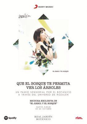 Cartel de presentación del álbum El árbol y el bosque de Rozalén en el Jardín Botánico de Madrid el 29 de octubre 2020